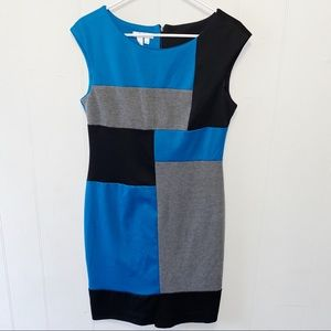London Times Color Block Sheath Dress